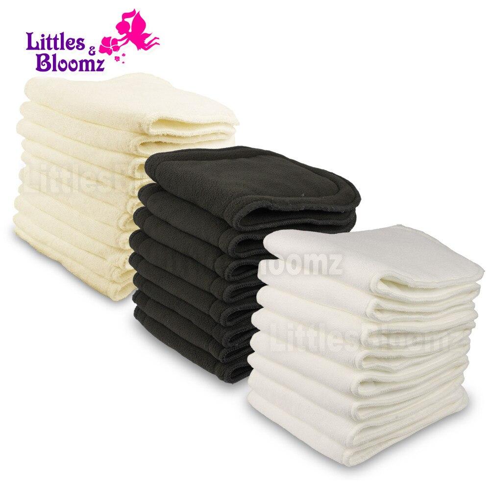 Многоразовые моющиеся вкладыши [Littles & blumz], вкладыши для подгузников из натуральной ткани, бамбуковый угольный вкладыш из микрофибры