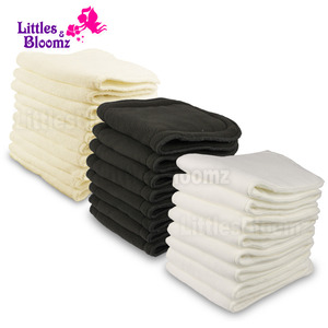 [Littles&Bloomz] Reusable Washable Inserts Boosters Liners For Real Pocket Cloth Nappy Diaper microfibre bamboo charcoal insert(China)
