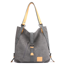 Vintage Gray Canvas Shoulder Bag For Women Bucket Bags Large Capacity Casual Ladies Hand Bags Travel Handbags Women bolso mujer yubird canvas tote zipper casual women big bag large bag fabric cloth ladies hand bag handbags for school bolso grande mujer