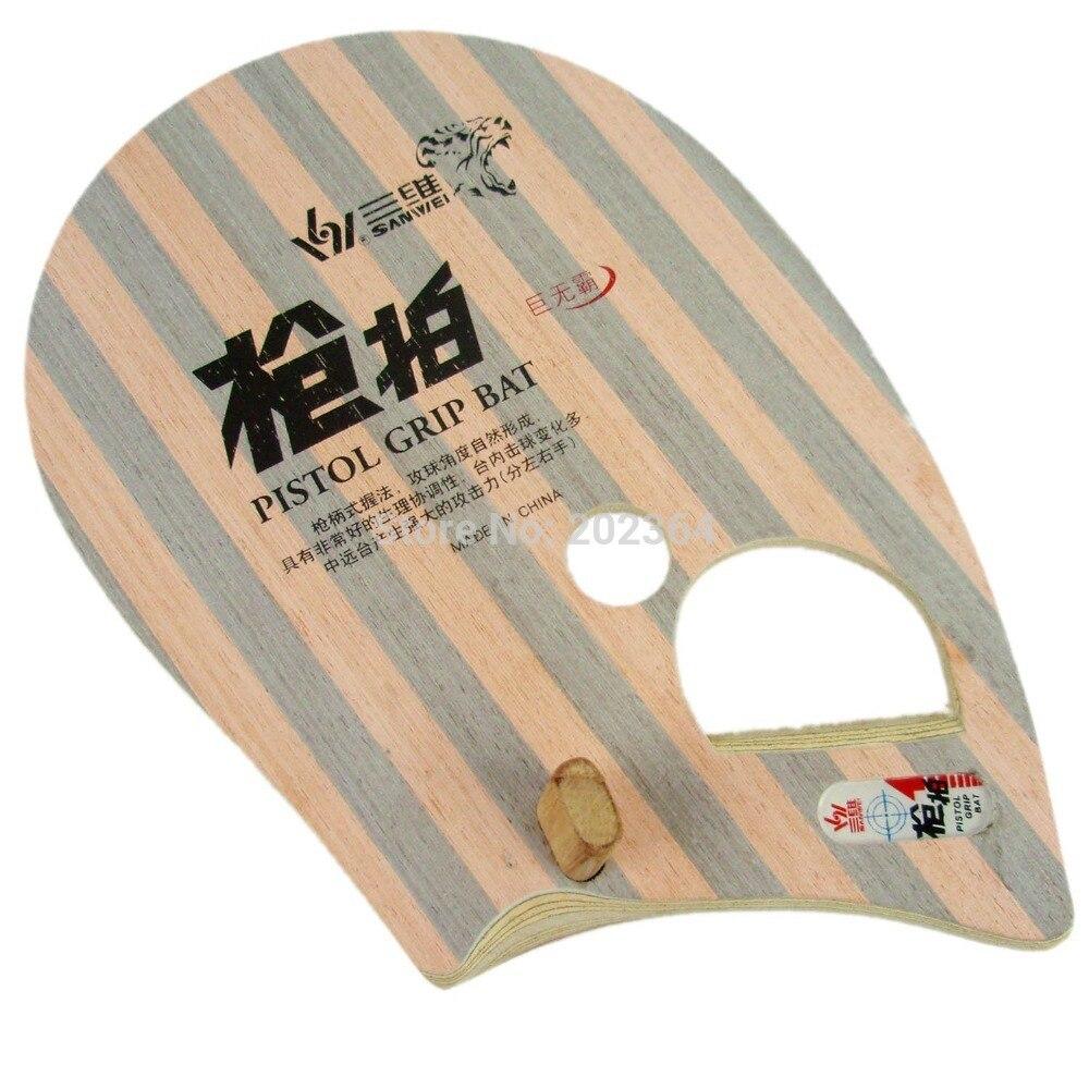 Sanwei T981 (Moyen Doigt Type) Tennis De Table Lame (Pistol Grip) pour PingPong Raquette pour La Main Gauche