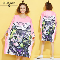 Women Harajuku Style Oversize T shirts Female 2019 Summer Cartoon Cat Letters Prints O neck Bat Sleeve Long Tops Plus size Tees