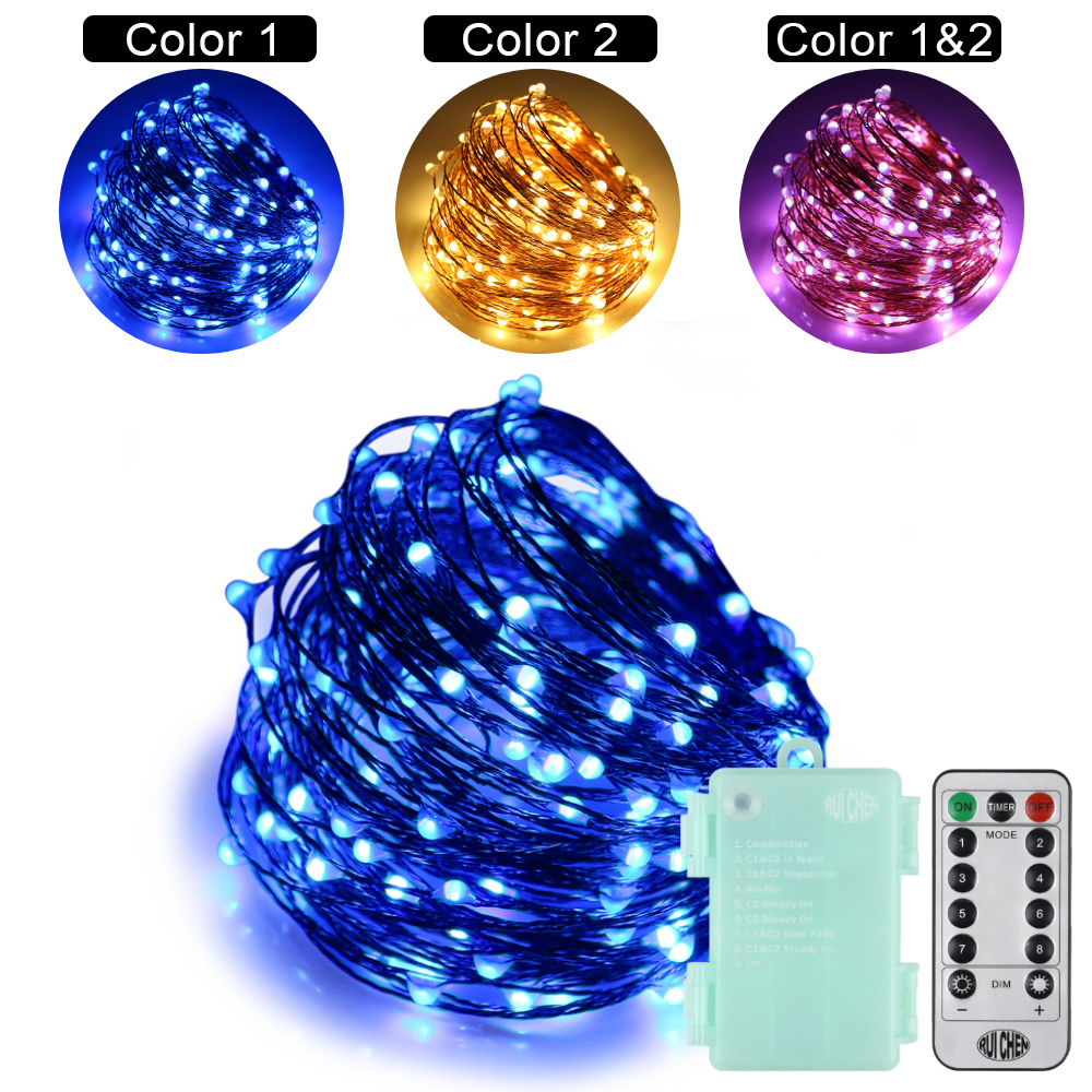 20m(66FT)200LEDs Dual-Color String lights 6AA Battery 10 Modes Copper Wire Color Changing Christmas/ Valentine Fairy Lights