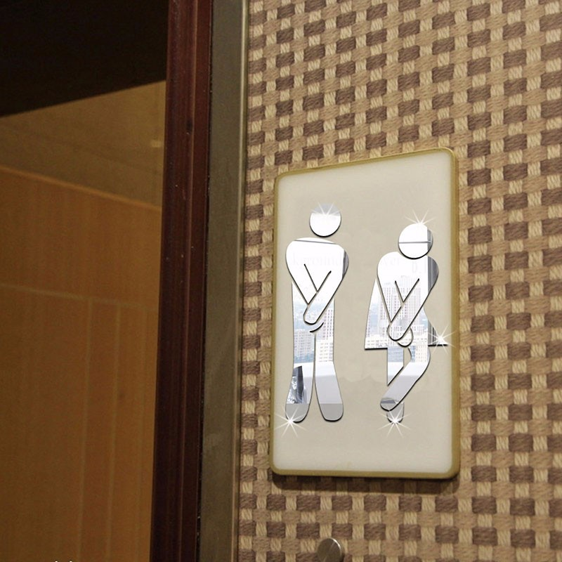 3D miroir Surface autocollant nom dr/ôle signe dentr/ée de toilette bricolage toilette Stickers muraux pour porte maison h/ôtel Toilette d/écor sticker mural-1