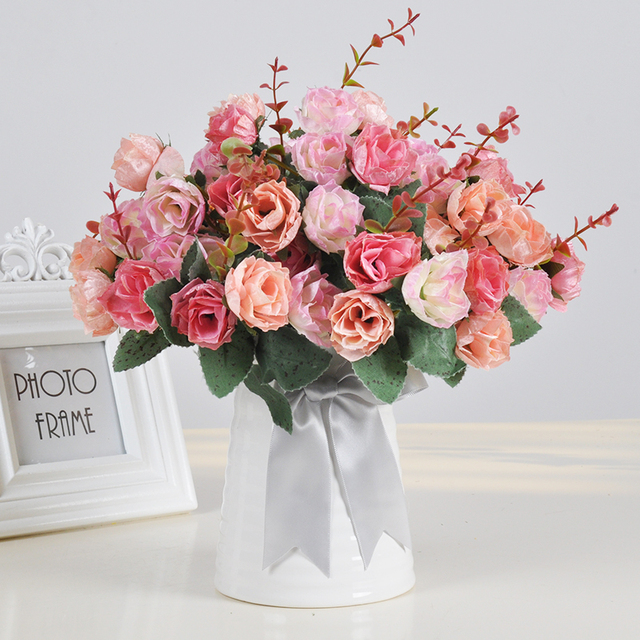 1 Set Artificial Flower Roses Carnation Sunflower Bouquets 25cm Ceramic Vase Wedding Home Decoration Fake