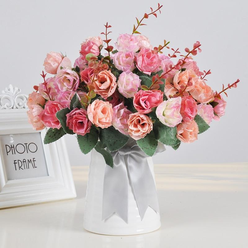 1 Set Artificial Flower Roses Carnation Sunflower Bouquets 25cm Ceramic Vase Wedding Home Shop Decoration Fake Flowers 9Color