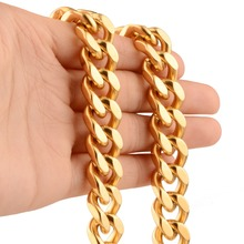13mm 7-40inch 316L Hipper Handmade Stainless Steel Fashion Gold Cuban Curb Chain Men's Boy's Daily Jewelry Necklace Or Bracelet