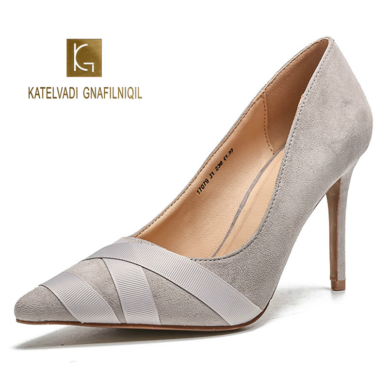 Fashion Women Shoes 9CM High Heels Stiletto Grey Flock Sexy Pumps Thin Heel Wedding Bridal Shallow Shoes sapatos mulher K-253 клатч quelle heine 96287