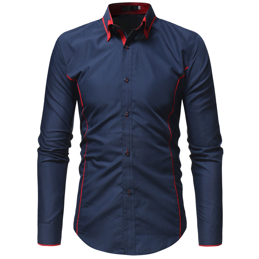 New Arrival Mens Hawaiian Shirt 2018 Male Casual Camisa Masculina Solid  Color Business Dress Shirt Long Sleeve Brand Clothing 4668518974bf