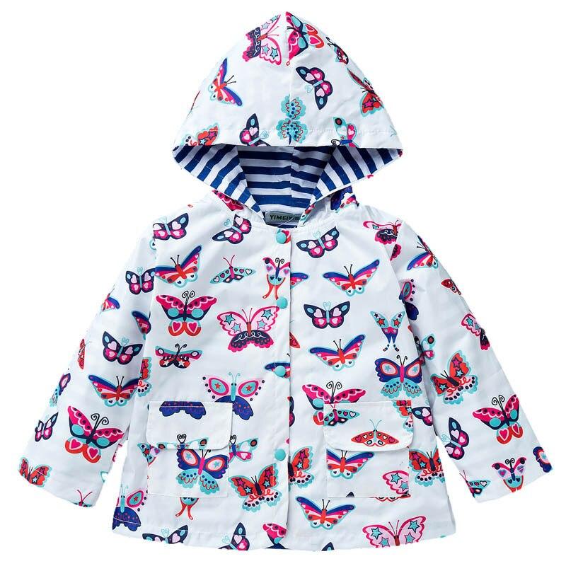 Children's coat girls cute solid color Trench windproof Cartoon Print windbreaker girls raincoat / windbreaker girl Outerwear