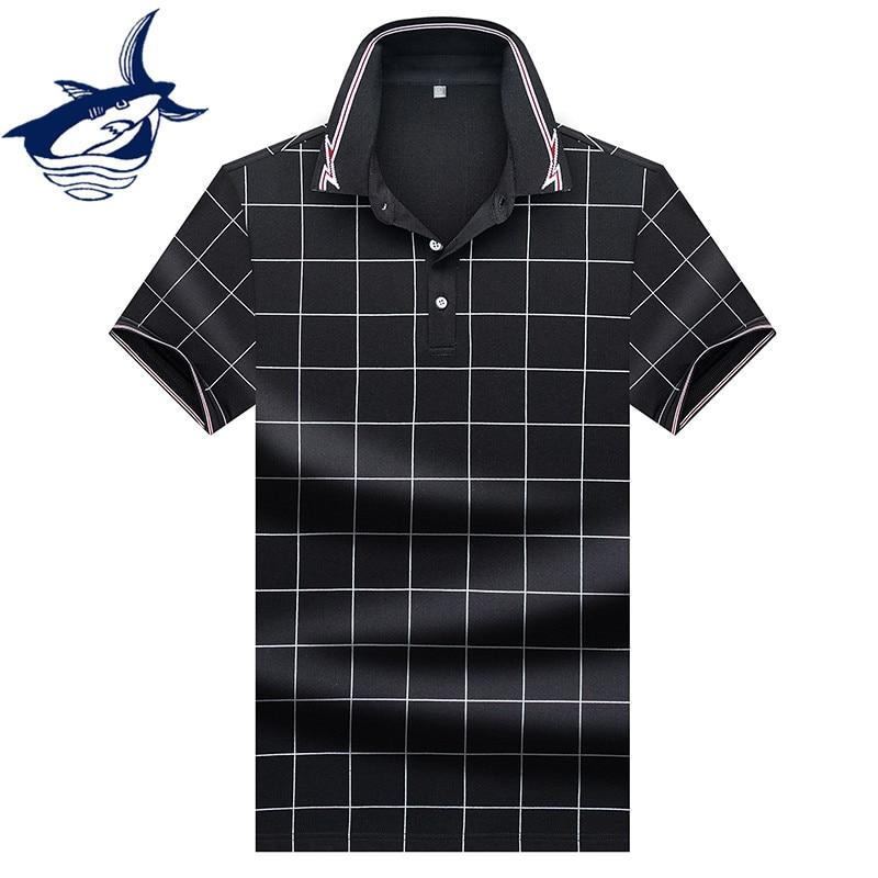 High Quality Summer Tops&Tees Plaid Men's   Polo   shirts Business men brands Tace & Shark   Polo   Shirts 3D embroidery   polo   shirt men
