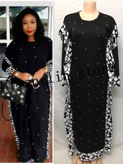 שמלת אורך: 140cm. חזה: 96cm ~ 116cm.2018 חדש אופנה אפריקאית אלסטי Bazin עם חרוזים סגנון דאשיקי ארוך שרוול מפורסם שמלות