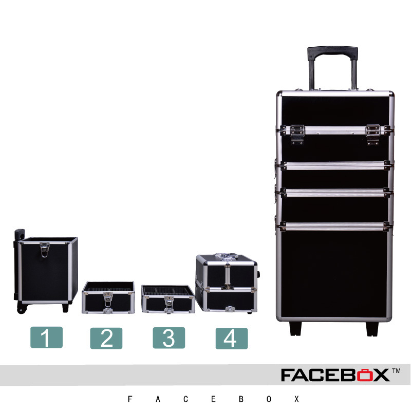 Facebox Brand 4 In 1 Trolley Makeup Box Beauty Case With Wheels Professional