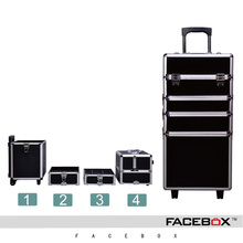 Facebox Brand 4 in 1 Trolley Makeup Box Beauty Case with wheels professional makeup trolley makeup case New Universal Wheels