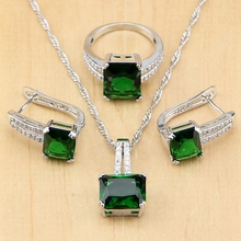 Square Green Cubic Zirconia White Zircon Beads 925 Sterling Silver Jewelry Sets For Women Wedding Earrings/Pendant/Necklace/Ring jexxi gorgeous rainbow clear zircon wedding party jewelry sets women square 925 sterling silver pendant necklace earrings set