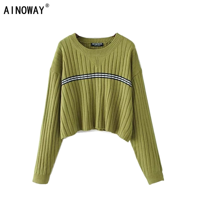 Women Autumn Winter Chic Vintage Sweater Crop Tops Striped Loose Knitted Oversize Sweaters Female Pullover Tops
