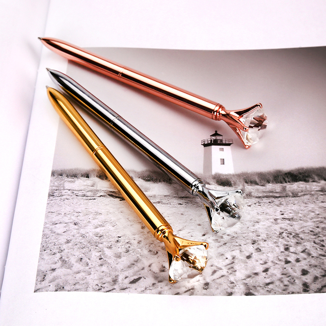 Big carat diamond Crystal Pen Gem Ballpoint pen ring wedding office Metal ring roller ball pen Rose gold silver pink purple
