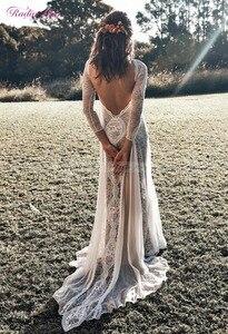 Image 5 - Vintage Spitze Backless Boho Strand Hochzeit Kleider Langarm Nude Futter Land Bohemian Wedding Kleider Hippie Gypsy Braut Kleid
