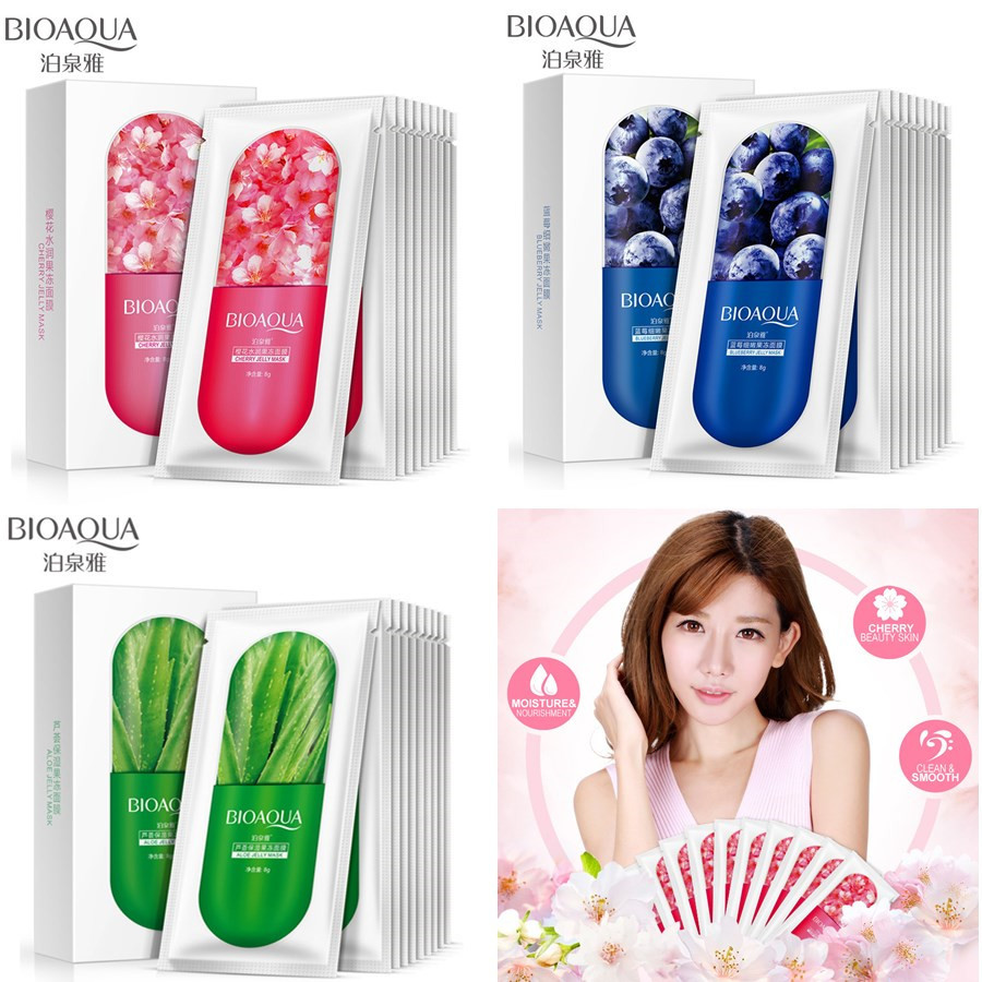 BIOAQUA 10Pcs Moisturizing Blueberry Cherry Jelly Mask Face Wrapped Masks Oil Control Smooth Tender Replenishment Skin Care
