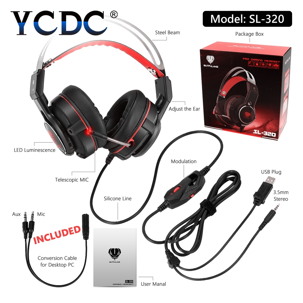 YCDC 3.5mm Wired Headphones With Microphone Headsets Bass HiFi Stereo Earphone PC Computer Gaming Headset 7.1 USB Gamer PS4 high quality gaming headset with microphone stereo super bass headphones for gamer pc computer over head cool wire headphone