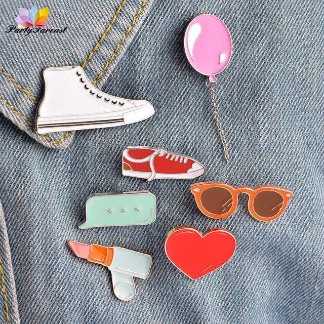 la gafas viajar Moda lápiz del zapatos labial ropa Pins insignias para globo corazón aleación Metal 171nfZqAF