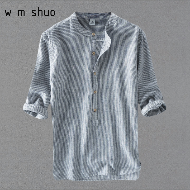 WMSHUO 2018 Mens Striped Shirts Male Three Quarter Sleeve Social Cotton Linen Stripe Casual Shirt Free Shipping Y502