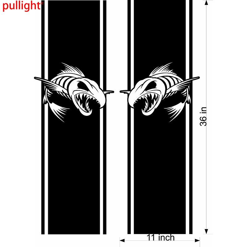 2X Cool Graphics vinyle Stickersskeleton poisson camion lit Sidefishing drapeaux graphiques voiture décalcomanies