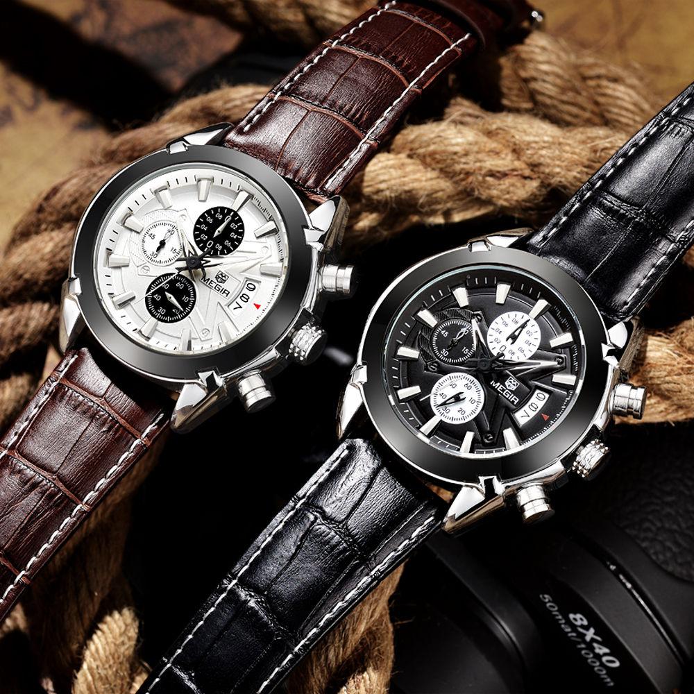 Relogio Masculino MEGIR Funkcja Chronograph Mens Watch skórzana - Męskie zegarki - Zdjęcie 6