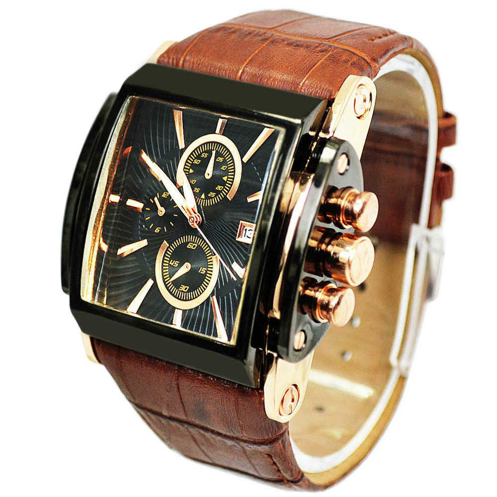 Mens Watches Top Brand Luxury Genuine Real Leather Military Watch Sports Watches Quartz Wristwatch Relogio Masculino