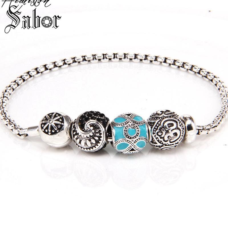 KM Bead DIY Bracelet With OM MAORI ETHNIC Beads Stopper Rebel Rock Bracelet For Men KB539 thomas jewellery