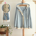 2014 Hitz Sen female series hooded long-sleeved denim jacket lace jacket lovely sunny girl free shipping