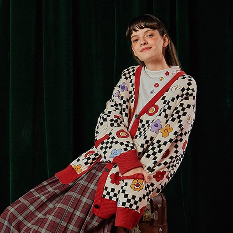 Épais Cou Tricot Lâche Hiver Motif Ludique Cardigan Manteaux Conception Vintage Jumper Printemps Manteau Femmes V Multi Dames Chandail qHzBvnfnw