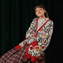 c825d527b Mola do Inverno do vintage Design Mulheres Brincalhão do Teste Padrão Das  Senhoras Casaco de Malha