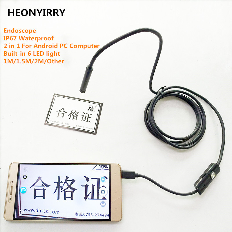 2M 7MM Waterproof IP67 Android Endoscope Inspection USB Borescope Tube Snake Mini Cameras Micro Camera 5 5mm endoscope with 6 adjustable led waterproof ip67 2m car inspection camera mini tube inspection borescope