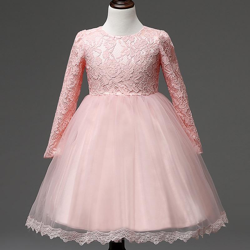 Elegant Girl Lace Dresses For Weddings White Pink Long Sleeve ...