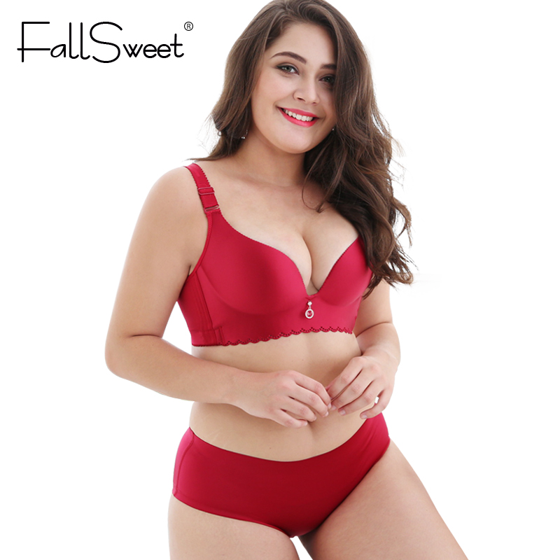 FallSweet Plus Size Bra Set Wire Free Unlined C D  DD cup Bra and Briefs Set 40 42 44 46 48 Large Cup Lingerie Set Underwear Set