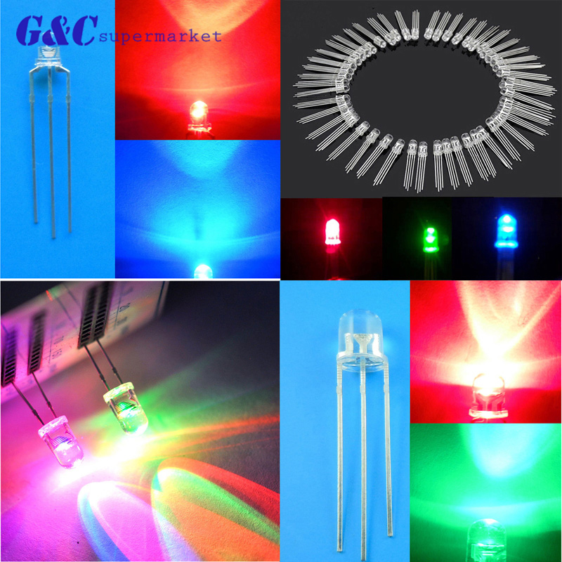 50PCS F3/F5 <font><b>LED</b></font> Diodes Light 3Pin Common Anode/Cathode 3mm <font><b>5mm</b></font> Round Dual colour Clear <font><b>Red</b></font>-Green/<font><b>Red</b></font>-Blue Kit image
