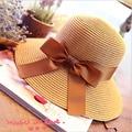 2016 new bow hat lady summer straw Panama sun hat summer leisure bucket hats