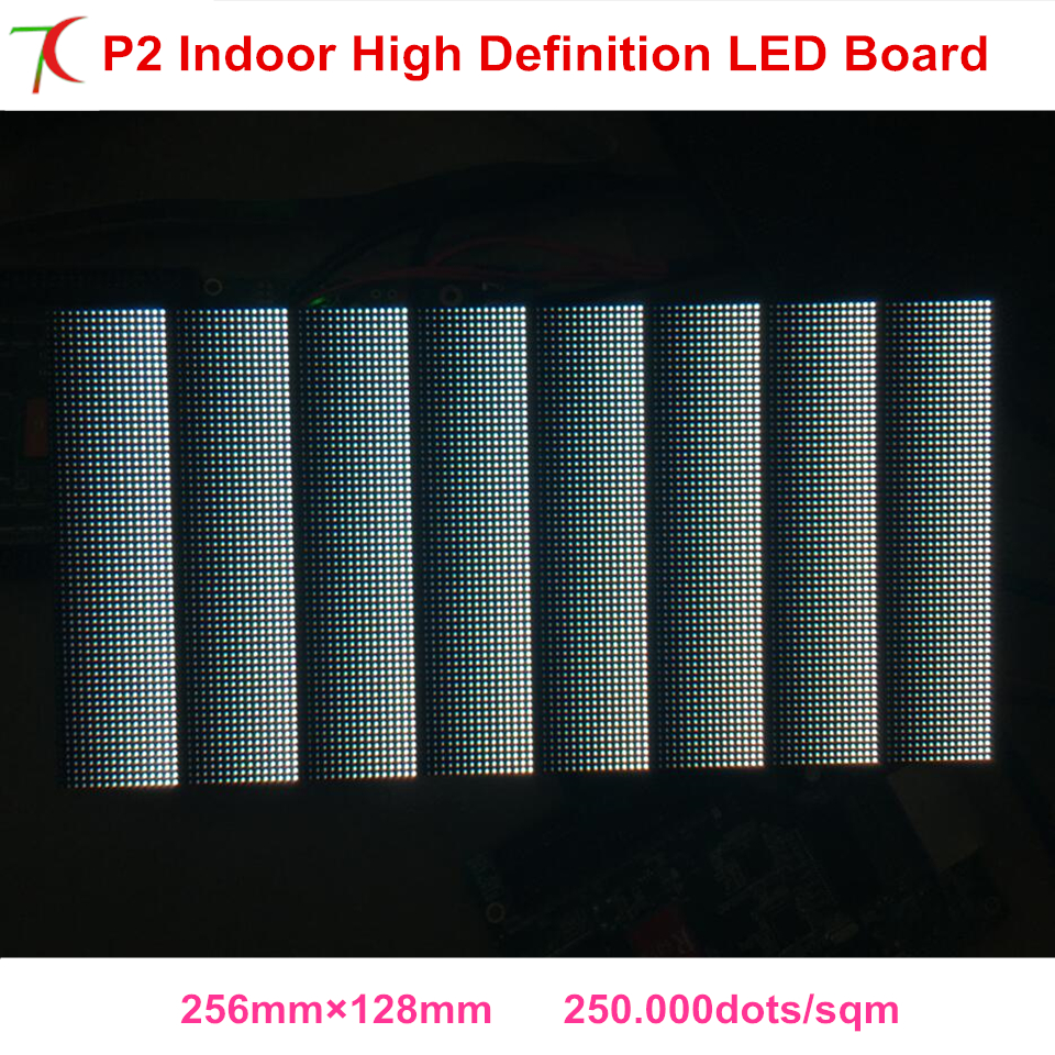 2018 New Size 256*128mm P2 Indoor  Full Color Led Modules Dot Matrix Rgb Panel High Definition Diy Led Display,250.000dots/sqm