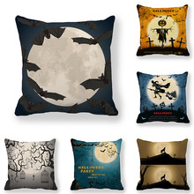 45cm*45cm Cushion cover  Halloween Flying Witch linen/cotton pillow case sofa and Home decorative pillow cover недорого