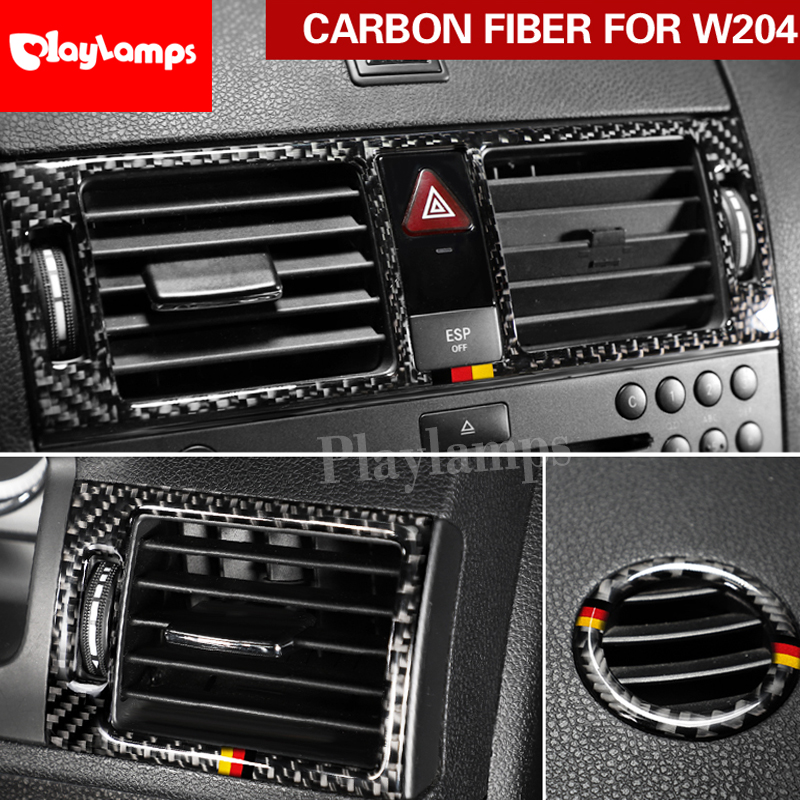 Carbon fiber Refit Car interior Stickers Dashboard Central Air Outlet Frame Trim cover For <font><b>mercedes</b></font> Benz C class W204 2007-2010 image
