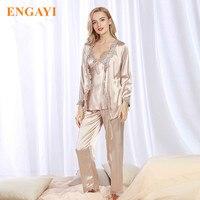 Plus Size New Spring Women Silk Satin Pajamas Pyjama Sets 3 Pcs Pijamas Nightgown Sexy Sleepwear
