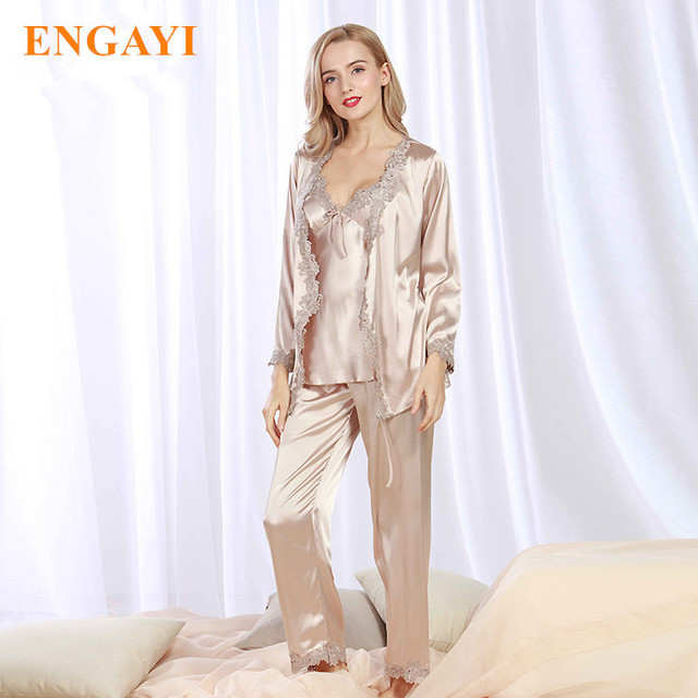 e4d076fddd Plus Size New Spring Women Silk Satin Pajamas Pyjama Sets 3 Pcs Pijamas Nightgown  Sexy Sleepwear Bathrobes Night Gown STZ301