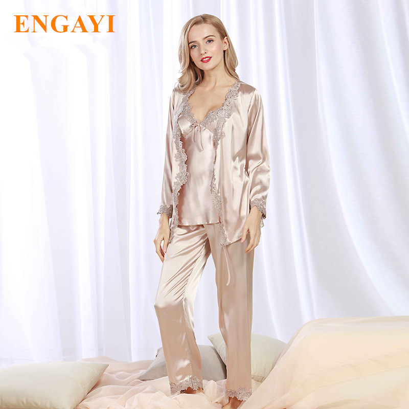Plus Size New Spring Women Silk Satin Pajamas Pyjama Sets 3 Pcs Pijamas Nightgown Sexy Sleepwear Bathrobes Night Gown STZ301