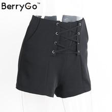 BerryGo Sexy lace up cross shorts women Casual zipper high waist shorts 2016 Spring new elegant pocket beach party shorts