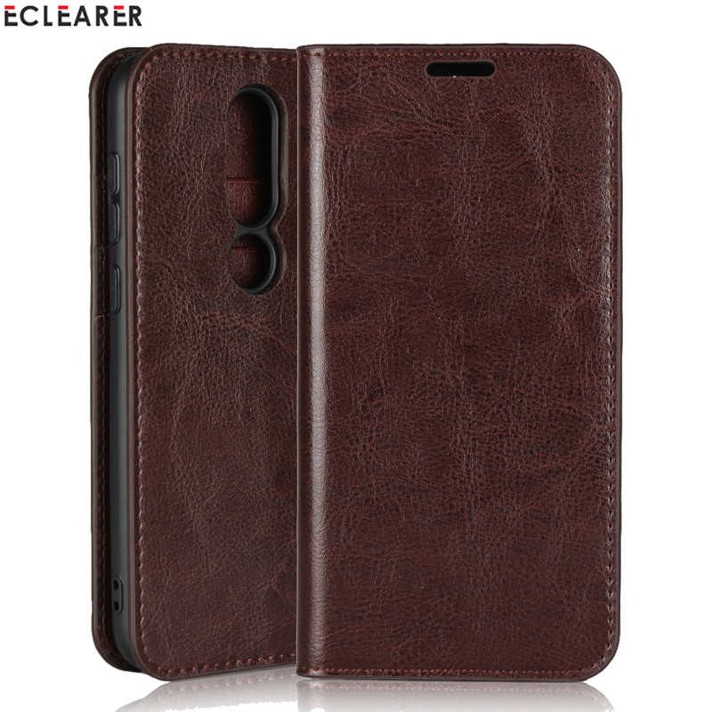 ECLEARER Wallet Case For Nokia 6.1 Plus Genuine Leather Case For Nokia 6.1 Plus Cover Vintage Card Slots Stand Flip Phone Cases
