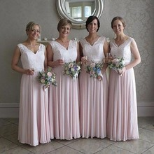 Beautiful Baby Pink Bridesmaid Dresses Charming Off the Shoulder Floor Length Applique Tulle Party Dress for Wedding
