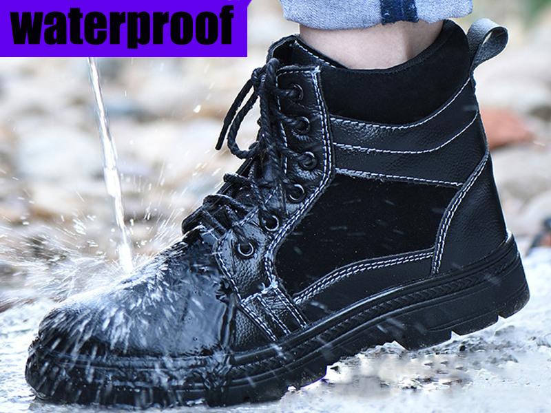 26432745dd9 Men's Safety BOOTS for Men waterproof boot Military Combat Hiking Tactical  leather boots Man WORK Indestructible steel toe Shoes