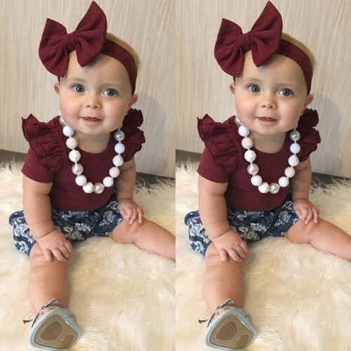 2019 crianças da criança do bebê da menina roupas infantis macacão topos flor imprimir calças bandana bodysuit outfits 3 pcs conjunto