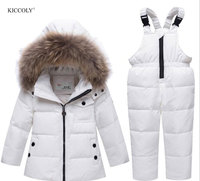 KICCOL 2018 Baby Girls winter snowsuits Russian Winter Kids Boy Fur Collar Hooded Down Jacket Children's Outwear Clothing Set