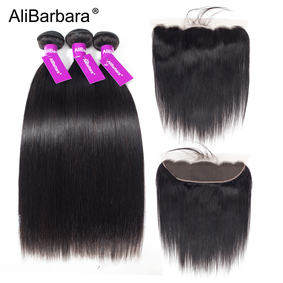 Brazilian Straight 3 Bundles With Lace Frontal Closure AliBarbara Hair Weave Bundles Remy Human Hair Extension